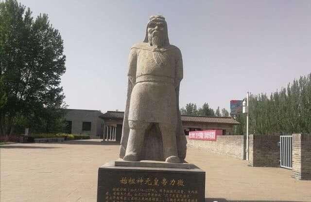 盛乐博物馆外围景观,始祖神元皇帝力微雕像。
